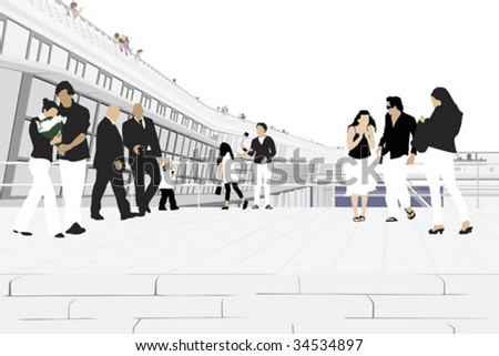 cheerful people in front of modern shopping mall - stock vector