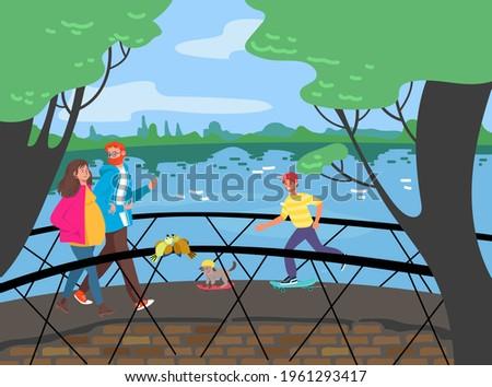cheerful people walking bridge
