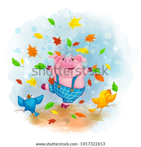 cheerful pig in blue pants
