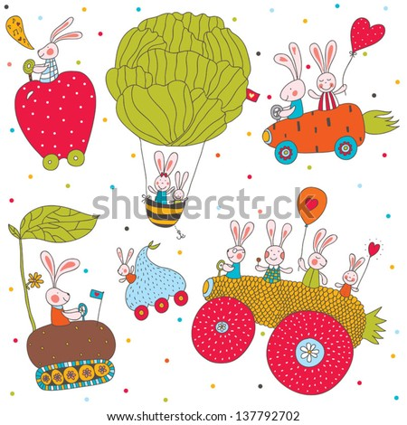Cheerful rabbits ride on cars. Children\'s seamless pattern.