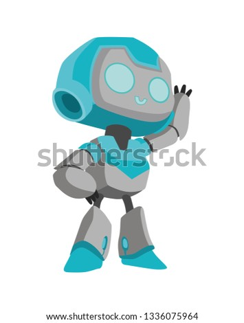 cheerful robot welcomes. isolated vector 2D illustration