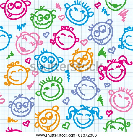 cheerful seamless pattern with color funny faces