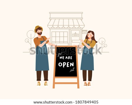 Cheerful small business owners standing welcoming with we are open written on a blackboard in front of a restaurant or coffee shop illustration