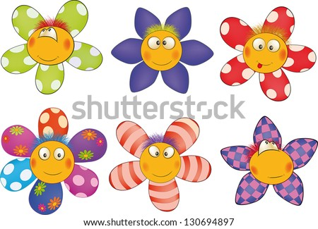 Cheerful small flowers. Cartoon