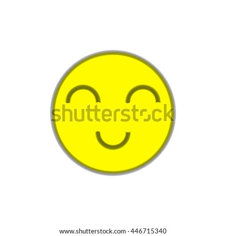Cheerful smile on white background. Stripe. Image seam.