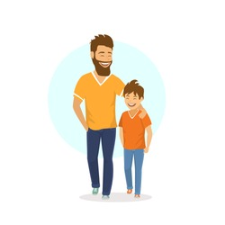 cheerful smiling laughing father and son walking together, talking isolated vector illustration scene