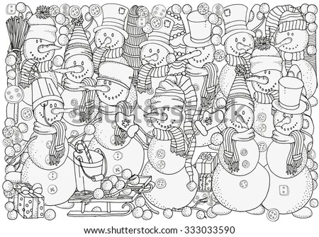 cheerful snowmen winter  snow