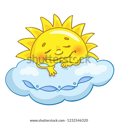Cheerful sun in cartoon style sleeps on a cloud. Isolated on white backgpound.