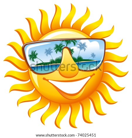 Cheerful sun in sunglasses with the reflection of a tropical island