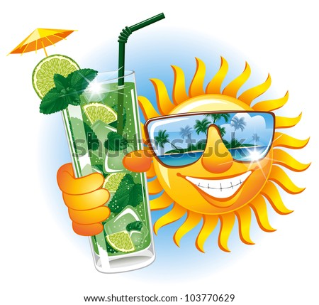 Cheerful sun in the sunglasses with refreshing cocktail - stock vector