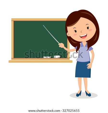 cheerful teacher on lesson....