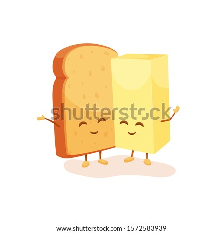 Cheerful toast and butter relashionship. Colorful food characters. Happy friends bread and fresh butter. Vector illustration for advertisement, flyers, website