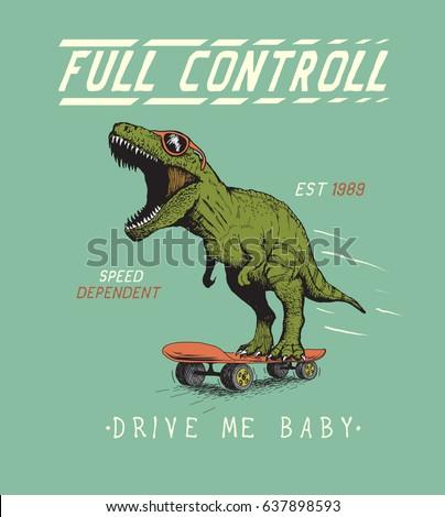 Cheerful tyrannosaur rides on skateboard.Dinosaur skateboarder dressed in sunglasses.Prints vintage design for t-shirts