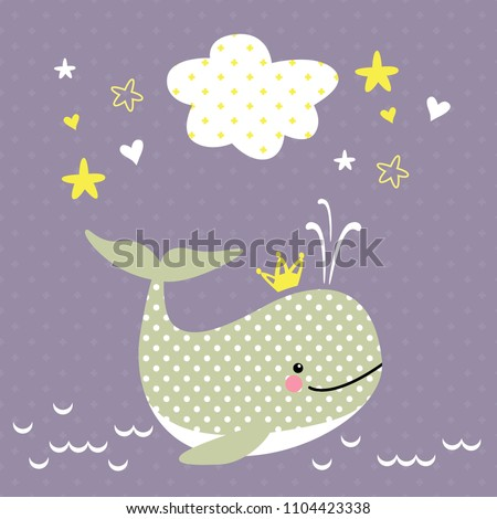 cheerful vector drawing whale with decorative elements and banner for design