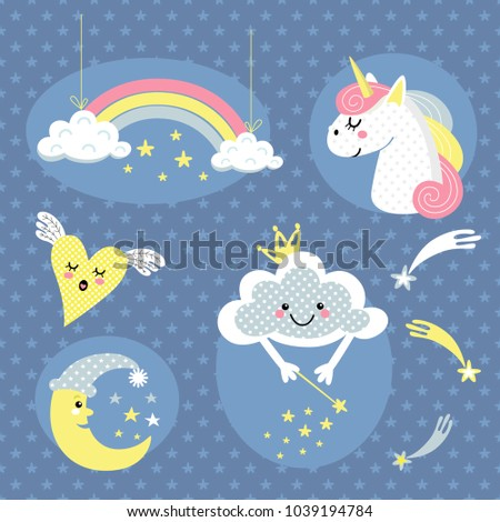 cheerful vector set of cartoon animals and characters with decorative elements