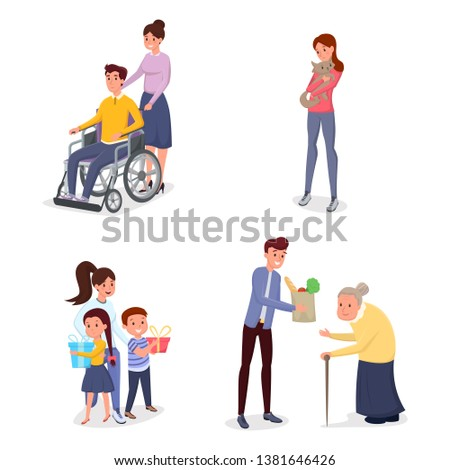 Cheerful volunteers flat vector characters set. Female caregiver helping disabled individuals, children, lost pets nursing. Young man buying grocery products for senile lady isolated characters