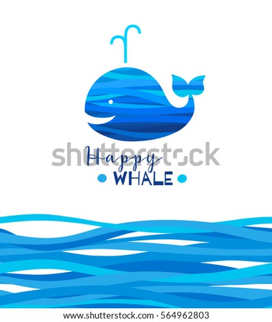 cheerful whale silhouette with