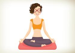 Cheerful Yoga Girl in lotus position. Vector, illustration
