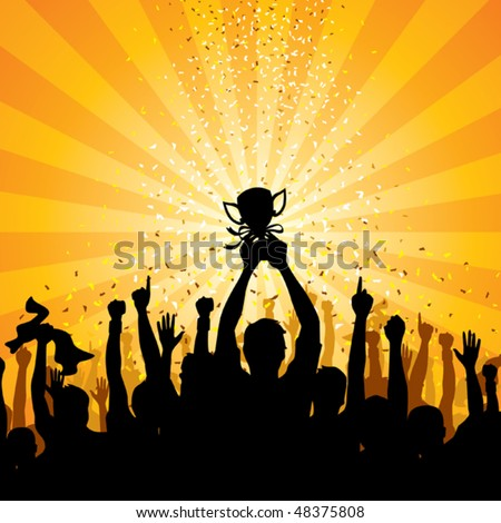 Cheering Crowd - stock vector