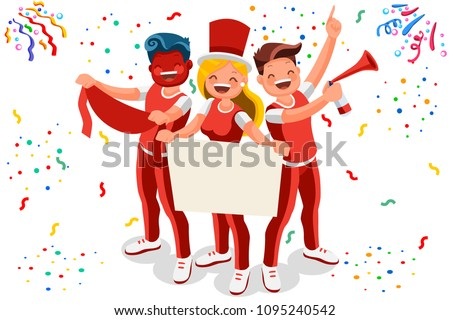Cheering crowd of football fans isolated. Soccer fans at stadium, crowd of celebrating people. Clipart or sticker for goal post, web banner, infographics, hero images. Flat vector illustration.
