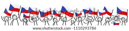 cheering crowd of happy stick