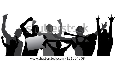 Cheering crowd or sports fans vector silhouettes. Layered - every figure is on a separate layer so can be easily adjusted to any liking. Fully editable.