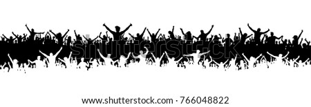 Cheering fans, sports silhouette crowd. Party, people vector. Applause concert disco. Poster Event banner background isolated.