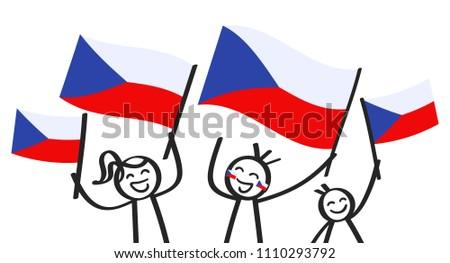 cheering group of three happy