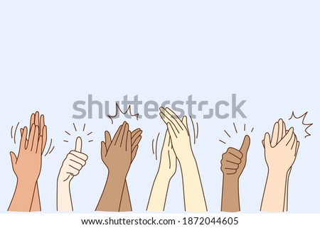 Cheering, ovation, applauding concept. Hands of various people male or female showing thumbs up, applauding, supporting somebody or cheering by gesture vector illustration Stock foto ©