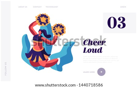 Cheerleader Girl Dancing with Pompons on Sport Event Competition Supporting Sportsmen. Characters Performing Dance on Stadium. Website Landing Page, Web Page. Cartoon Flat Vector Illustration, Banner