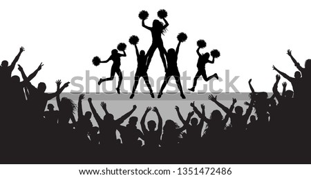 Cheerleaders on the scene and applauding crowd silhouette, vector illustration.