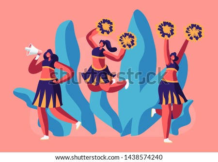 Cheerleaders Team in Uniform Dancing with Pompons Crying to Megaphone on Sport Event Competition Supporting Sportsmen. Student Girls Characters Performing on Stadium. Cartoon Flat Vector Illustration