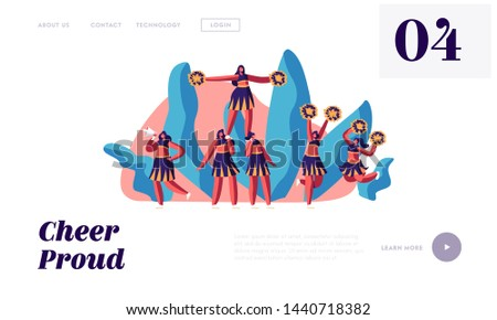 Cheerleaders Team in Uniform Make Pyramid on Sports Competition. Student Girls Performing Dance to Support Sportsmen in College Website Landing Page, Web Page. Cartoon Flat Vector Illustration, Banner