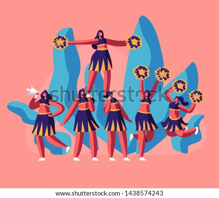 Cheerleaders Team in Uniform Making Pyramid on Football Stadium Event or Sports Competition. Student Girls Characters Performing Dance to Support Sportsmen in College. Cartoon Flat Vector Illustration