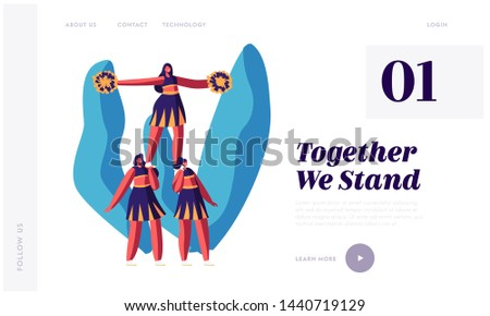 Cheerleaders Team Making Pyramid Website Landing Page, Sports Competition, Student Girls Characters Performing Dance to Support Sportsmen in College Web Page. Cartoon Flat Vector Illustration, Banner