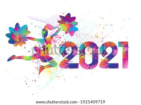 Cheerleading logo design. 2021. Colorful sport background. Vector illustration. ストックフォト ©