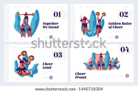 Cheerleading Website Landing Page Set, Cheerleaders Team Performing on Stadium Event Girls Dance to Support Sportsmen on Sports Competition in School Web Page. Cartoon Flat Vector Illustration, Banner