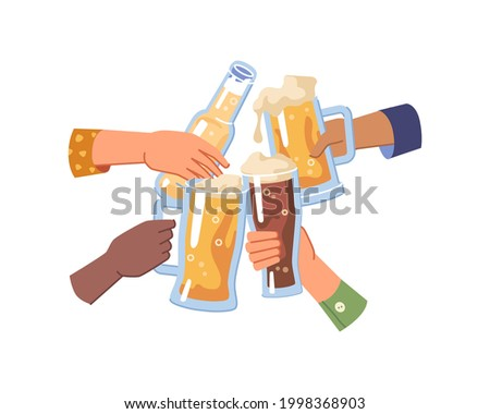 Cheers and celebration, isolated hands holding glasses and bottle of beer, light and dark or pale ale. People cheering and toasting, togetherness and happy leisure of friends. Flat cartoon vector Stockfoto ©