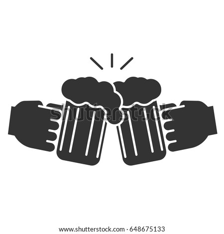 Cheers glyph icon. Silhouette symbol. Hands holding toasting beer glasses. Negative space. Vector isolated illustration