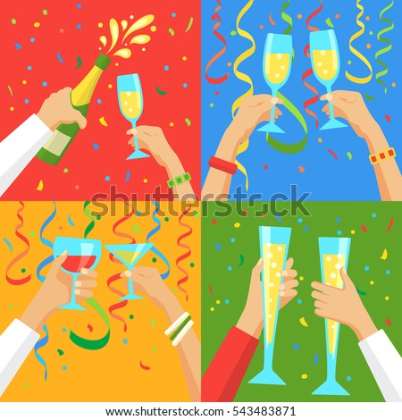 Cheers! Group of people cheering with champagne flutes over confetti and streamers background. Holiday and celebration concept
