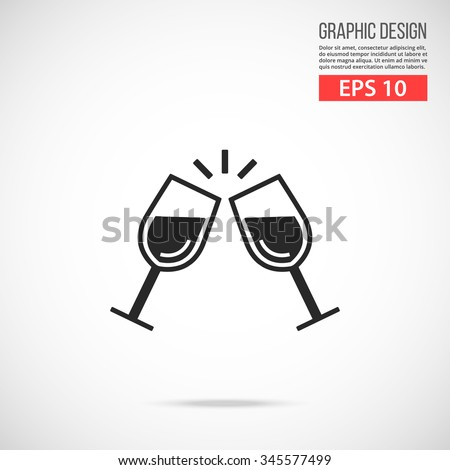 Cheers icon. Two glasses of champagne. Holiday concept. Black pictogram. Modern flat design vector illustration for web banners, web site, infographics. Vector icon art isolated on gradient background