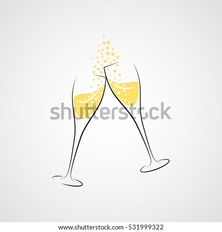 Cheers! Two champagne glasses. Vector