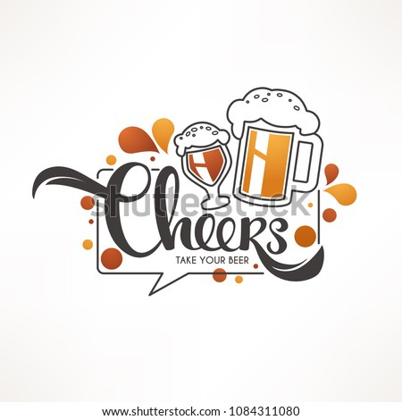 Cheers, vector illustration with draft beer mugs and lettering composition for your pub logo, label, menu, emblem, line art, doodle style