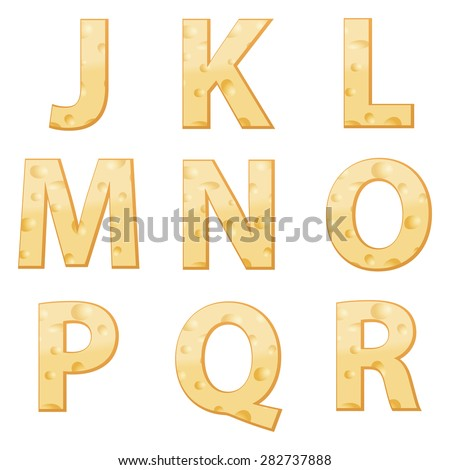 cheese alphabet j to r on a