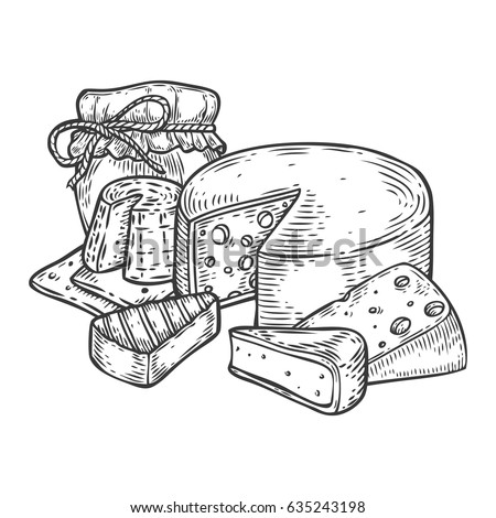 Cheese and honey jar vector hand drawn set engraving illustration. Fat organic bio farm food set engraved collection. Black food isolated on white background.