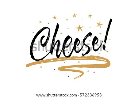 Cheese banner. Beautiful greeting card scratched calligraphy black text word gold stars.Hand drawn invitation T-shirt print design.Handwritten modern brush lettering white background isolated vector ストックフォト ©
