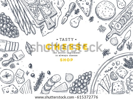 Cheese collection top view illustration. Antipasto table background. Engraved style illustration. Hero image. Vector illustration #615372776