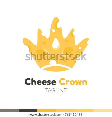 Cheese Crown Logo, Restaurant logo, food and cooking logo, vector logo template.