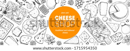 Cheese design template. Hand drawn sketch. Retro food background. Different cheese kinds banner. Dairy farm products cheese.