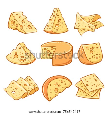 Cheese doodle. Hand drawn emmentaler swiss cheese isolated on white background, vector illustration